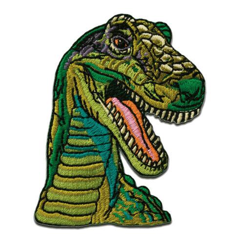 Patches Aufbügeln Aufnäher // Bügelbild grün Dinosaurier T-Rex 6,9x5cm