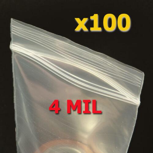 """100 Small 4/""""x 6/"""" Plastic Ziplock Bags 4 MIL Ziploc"""