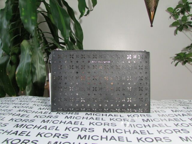 657d2f001554 Michael Kors Jet Set Travel XL Large Clutch Perforated Leather Mirror Black