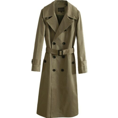 Mens Double-breasted Belt Long Trench Coats Super Length Outwear Jacket Military