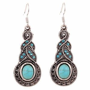 Retro-Women-Natural-Turquoise-Crystal-Tibet-Silver-Hook-Dangle-Earrings-Jewelry