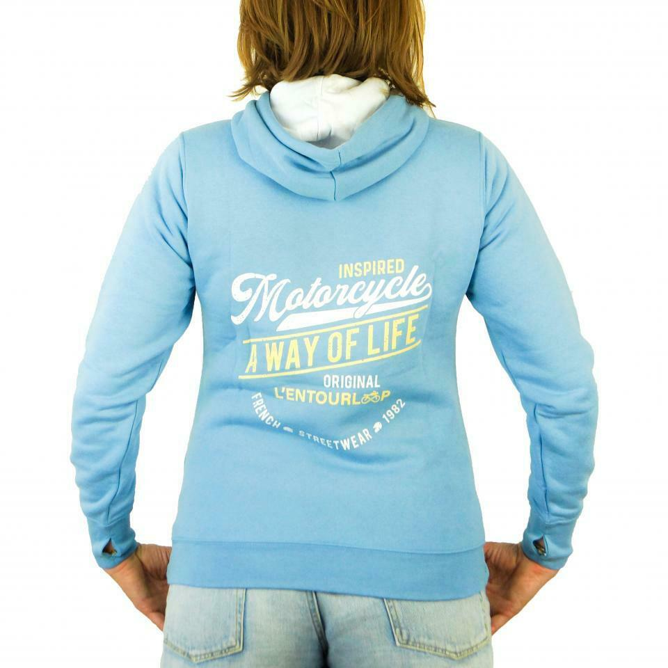 Hooded Sweatshirt Motorcycle Woman L'Entourloop Original Light Blue Taille L
