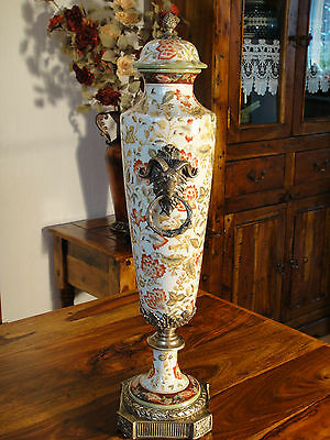 Deckelvase Porzellan Bronze Prunkvase Antik Barock Luxus Vase Urne Pokal Edel