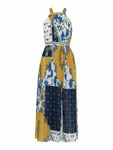 WHISTLES Patchwork Scarf Pleated Dress Sleeveless Blue/Multi UK10 BNWT RRP199