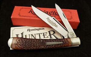 Vtg Remington UMC ONE R1263 Hunter Bullet Knife USA 1986 Jigged Bone w/ Box