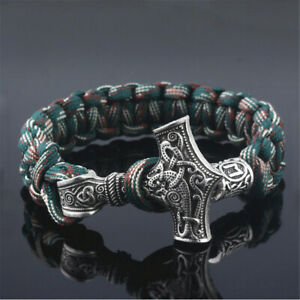 Men-039-s-Norse-Viking-Thor-Hammer-Mjolnir-amp-Rune-Bead-Parachute-Cord-Rope-Bracelet