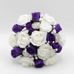 Artificial wedding flowers bridesmaids posy bouquet purple white image is loading artificial wedding flowers bridesmaids posy bouquet purple white mightylinksfo