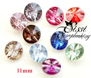 MAXI-LOT-10-BOUTONS-STRASS-TRANSPARENT-11mm-MULTICOLORES-DECO-COUTURE-MARIAGE