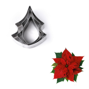 3X Poinsettia Flower Cookie Molds Cookie Cutter Cake Decor Molds Stainless Steel