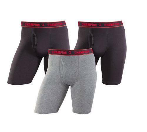Champion Men/'s Cotton Performance Long Leg Boxer Brief 3-Pack Size Large