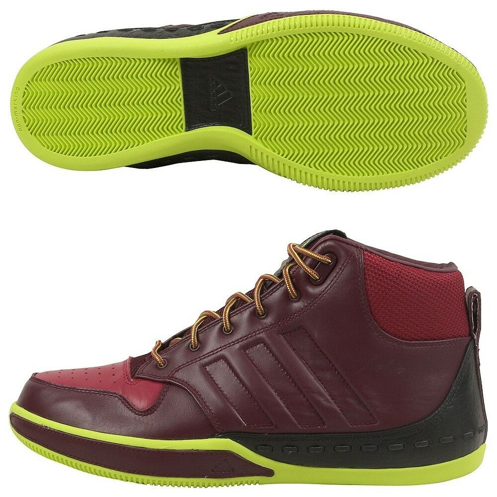 2008 ADIDAS LUX MID LEATHER Maroon, Neon Yellow, / Black US 9 / / Yellow, + bf1165
