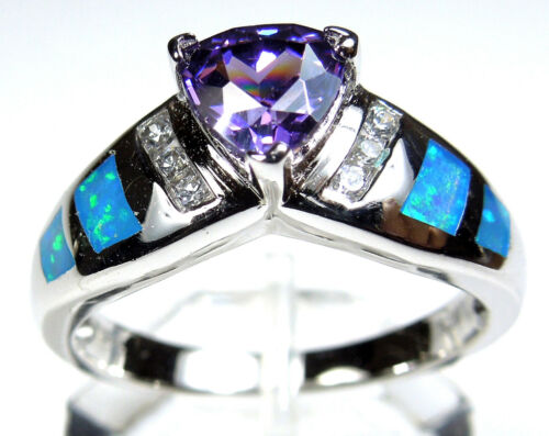 Huge Amethyst /& Blue Fire Opal Inlay 925 Sterling Silver Woman Ring Sz 6,7,8,9 Free Shipping in USA