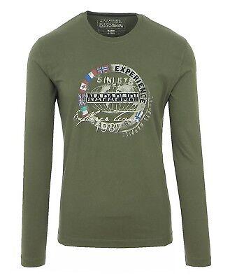 Napapijri Smu Streif Herren Men Langarmshirt T Shirt Longsleeve Grün Green Olive | eBay