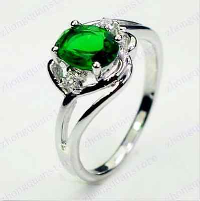 Jewelry Ring Size 6 Green Emerald CZ Women's 10Kt White Gold Filled Wedding Gift