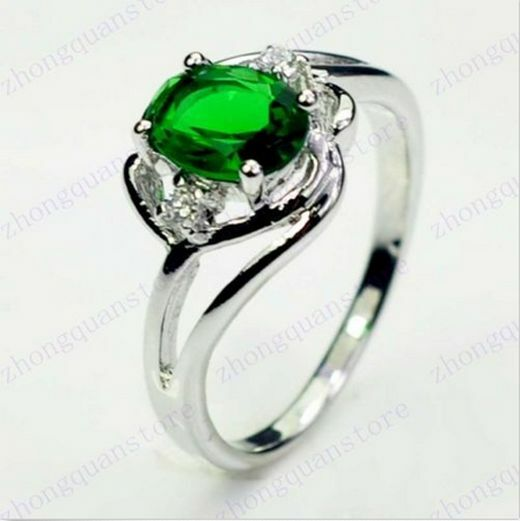 Size 6-10 Oval Cut Green Emerald Crystal Engagement Ring 10kt White Gold Filled