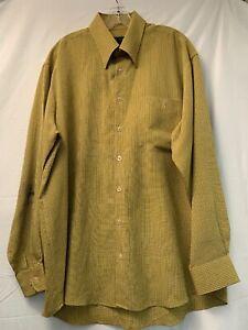 Scott-Barber-Mens-Mustard-Yellow-Large-Button-Down-Long-Sleeve-Plaid-Shirt
