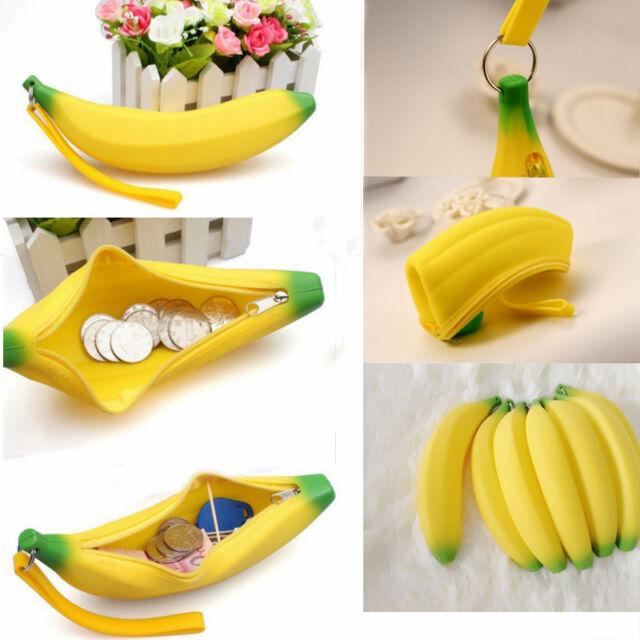 Silicone Portable Banana Coin Pencil Case Purse Bag Wallet Pouch Keyring 1 Pcs