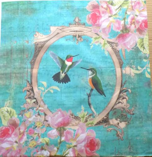 Panel de tela de algodón Colibríes Rosas listo Panel De Tela Acolchado tela HÁGALO USTED MISMO