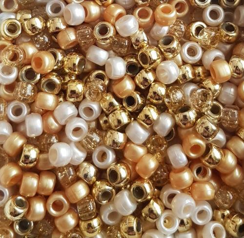 100 All That Gitters Pony Beads Mix White Gold Metallic Pearl Glitter Hair Dummy