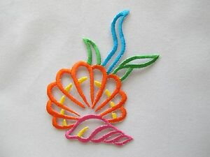 4228-4-034-H-Ocean-Conch-Clam-Seaweed-Embroidery-Iron-On-Applique-Patch