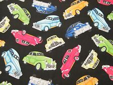 BTY 1950's Cars on Black Print 100% Cotton Quilt Craft Fabric by the Yard