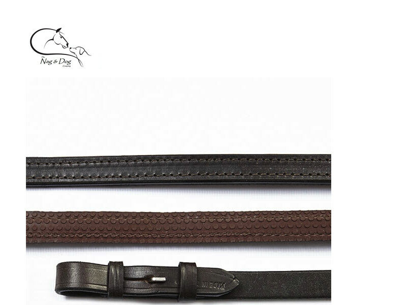 Half Rubber Show Dressage Reins,Brown, English Leather 5 8  FREE DELIVERY