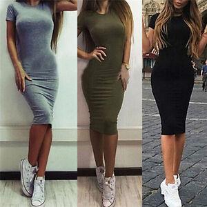 Femmes-coton-genou-longueur-robe-de-bureau-maigre-robe-manches-courtes