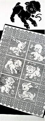 959 Vintage LW Filet BABY ANIMALS CRIB COVER Pattern to Crochet Reproduction