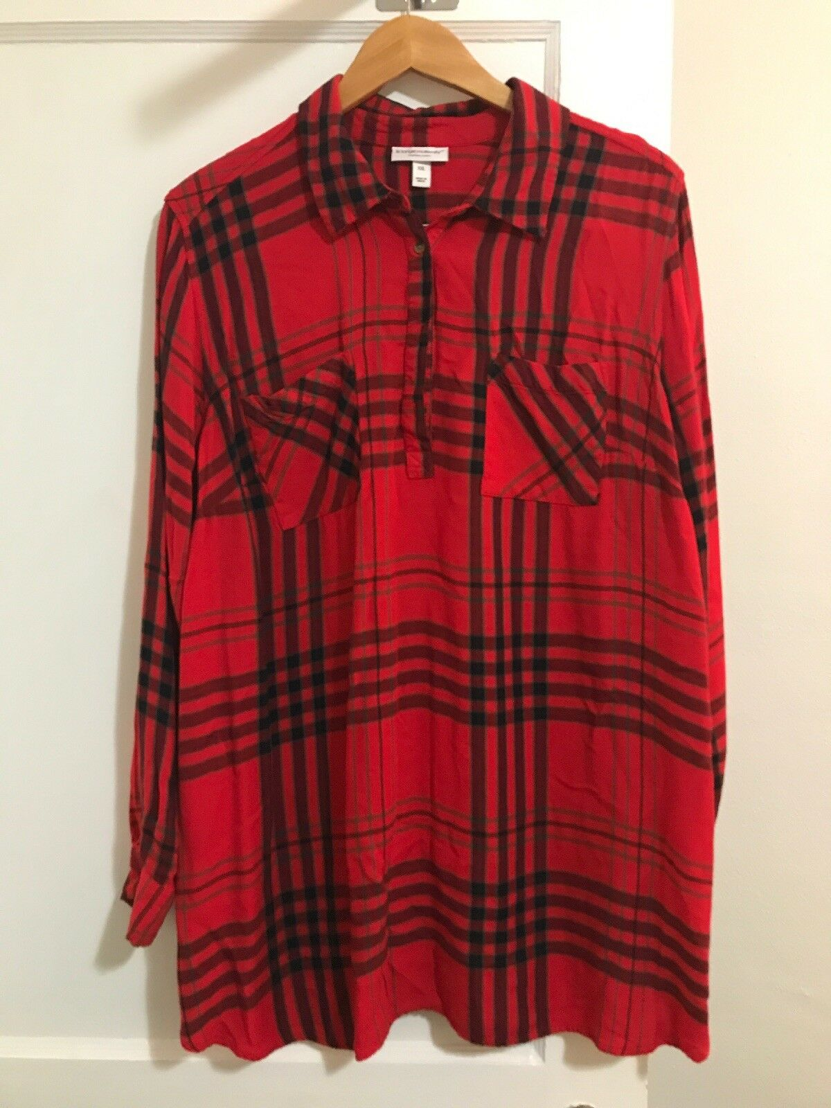 Liz Lange Top Maternity Womens Size XXL Red Plaid Tunic Long Sleeves  Loose Fit