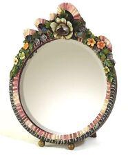 Fabulous ROUND barbola Specchio Cornice Floreale Colorato profuso shabby chic