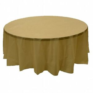 6 Pack 84 Gold Round Plastic Table Cover Economy Table Cloth