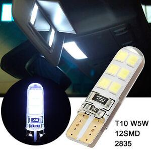 1Pc Xenon White 6000K T10 W5W 12SMD 2835 LED Canbus Error Free Silica Light Bulb