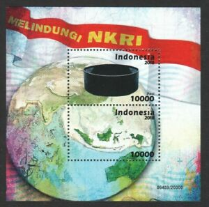 INDONESIA-2018-TRADITIONAL-HEADDRESS-HATS-MAP-SOUVENIR-SHEET-OF-2-STAMPS-MINT