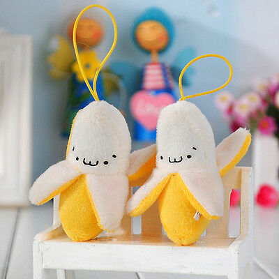 Mini Emoji Banana Soft Keychain Stuffed Plush Toy Keyring Phone Pendant