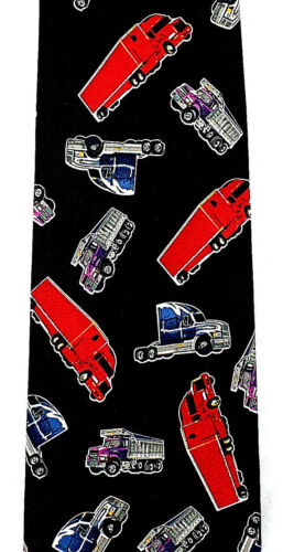 Red Trucks Men/'s Neck Tie Transportation Dump Road Trucker Gift Black Necktie