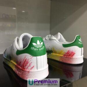 new product c487e 72a3a Caricamento dell immagine in corso Adidas-Stan-Smith-Bianco-Verde-Sfumate- Schizzate-Prodotto-