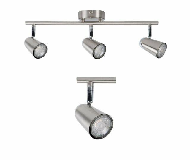 Pair Of Silver Brushed Chrome 3 Way Spotlight Bar Kitchen Ceiling Spot Lights For Sale Online Ebay