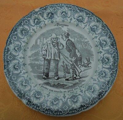 Lot 6 assiettes dessert porcelaine Images de chasse faience Saint-amand oiseaux