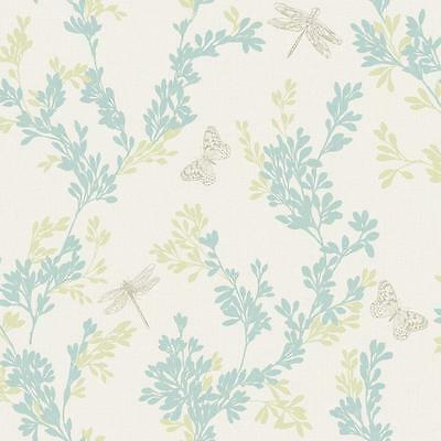 New Rasch- Bloomsbury Floral Butterfly - Teal & Yellow - Luxury Wallpaper 204926