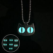 Elegant Unisex Glowing Cat Eye Pattern Pendant Necklace Luminous Jewelry Chain