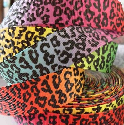 "Grosgrain Ribbon 7/8"" MULTI-COLORED LEOPARD PRINTED FOR HAIRBOWS"
