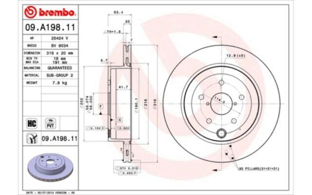 1x BREMBO Disco de Freno Trasero Ventilado 316mm 09.A198.11