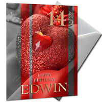 LOVE, HEART, VALENTINE - PERSONALISED  Birthday Card Large A5