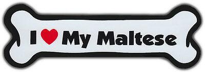 Dog Bone Magnet: I Love My Maltese | For Cars, Refrigerators, More