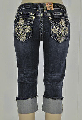 NEW LA Idol Capri Jeans Cuffed Vintage Rhinestone Cross Stitching Stud Embelish