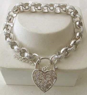 GENUINE SOLID 925 STERLING SILVER PLAIN and PATTERN BELCHER BRACELET