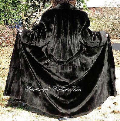 SHEARED BLACK MINK FUR COAT Jacket MINT Vy.Long Tall M/L Bloomingdales Sz.12/14