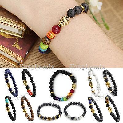 1X Mens Unisex Buddha Head Lava Rock Agate Tiger's Eye Gems Beads Bracelet Gift
