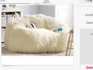 41d4c1545e LARGE IVORY FAUX FUR BEANBAG COVER BEAN BAG LOUNGE ROOM RUMPUS ROOM ...