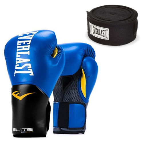 Everlast Blue Elite Pro Style Boxing Gloves 12 ounce /& Black 120 Inch Hand Wraps